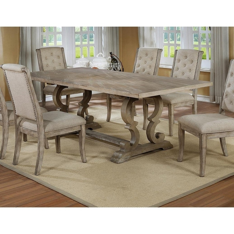 Best Master Furniture Rustic Natural Wood Finish Rectangular Dining Table