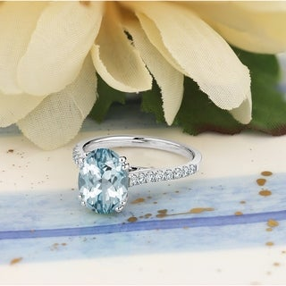 14k Gold 1 5/8ct Fancy Oval Aquamarine and 1/4ct TDW Diamond Engagement Ring by Auriya