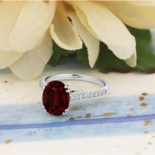 Auriya 2 3 4ct Fancy Oval Garnet And Diamond Engagement Ring 1 4ctw 14k Gold