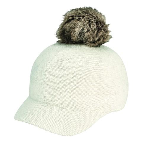 Ivory Knit Short Brim Cap with Faux Fur Pom by San Diego Hat Company