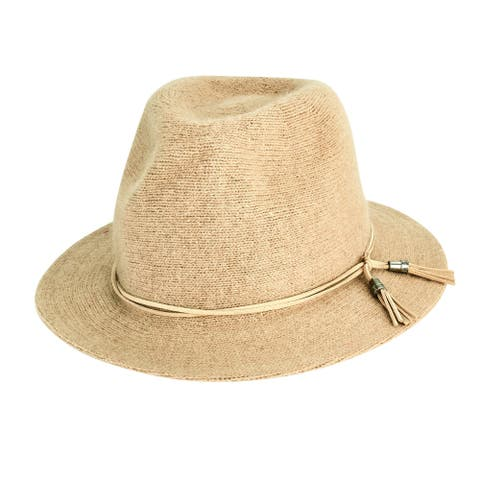 Camel Wool Blend Knit Fedora with Faux Suede Double Tassel Trim by San Diego Hat Company