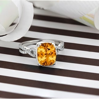 14k Gold Fancy 3 9/10ct Cushion Citrine and 1/5ct TDW Diamond Engagement Ring by Auriya