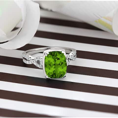 Auriya 3 9/10ct Fancy Cushion Cut Peridot and 1/5ctw Diamond Engagement Ring 14kt Gold