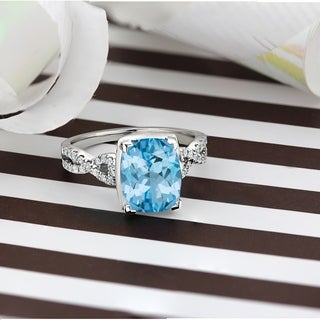 Auriya 3 9 10ct Cushion Cut Sky Blue Topaz And Diamond Engagement Ring 1 5ctw 14k Gold