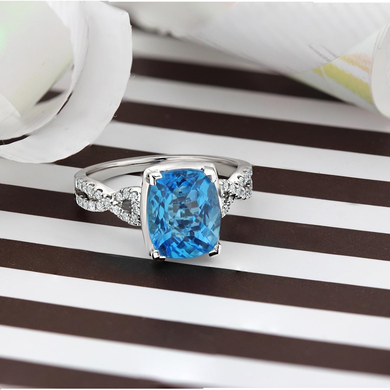 Auriya 3 9 10ct Fancy Cushion Cut Swiss Blue Topaz And 1 5ctw Diamond Engagement Ring 14k Gold