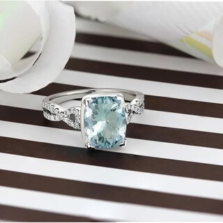 14k Gold 2 1/3ct Fancy Cushion Aquamarine and 1/5ct TDW Diamond Engagement Ring by Auriya