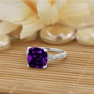 Auriya 3 1/8ct Fancy Cushion Purple Amethyst and Diamond Engagement Ring 1/4ctw 14k Gold
