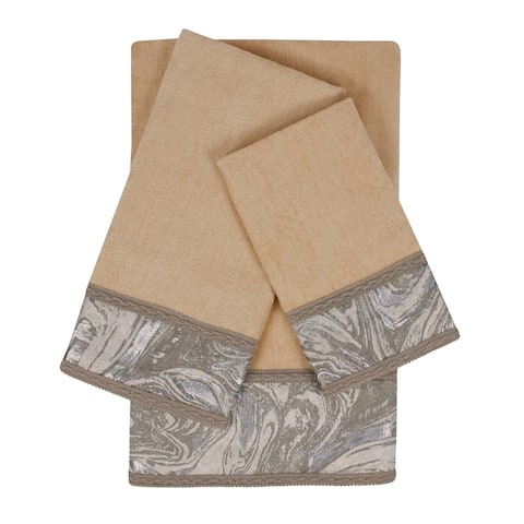 Sherry Kline Earlington Beige 3-piece Embelished Towel Set