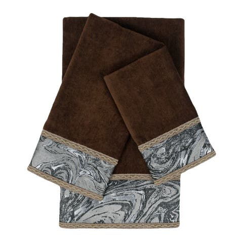 Sherry Kline Earlington Brown 3-piece Embelished Towel Set