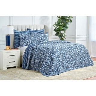 Adhira Authentic Block Printed Blue Cotton Quilt (Shams Not Included)