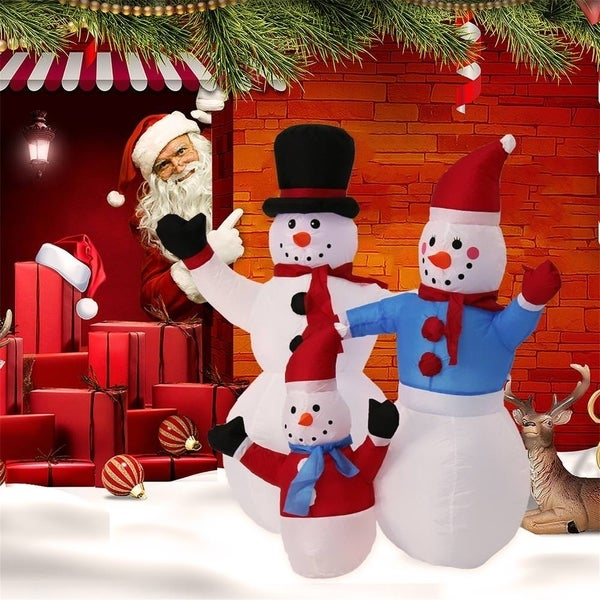 Shop Kinbor 4ft Inflatable Snowman Family Christmas Air Blown