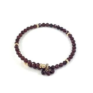 "Rebecca Cherry Handmade Garnet Bangle Bracelet Adjustable 7.5"" - Red"