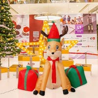 Kinbor 4Ft Inflatable Christmas Deer Gift Indoor Outdoor Airblown Holiday Yard Decoration