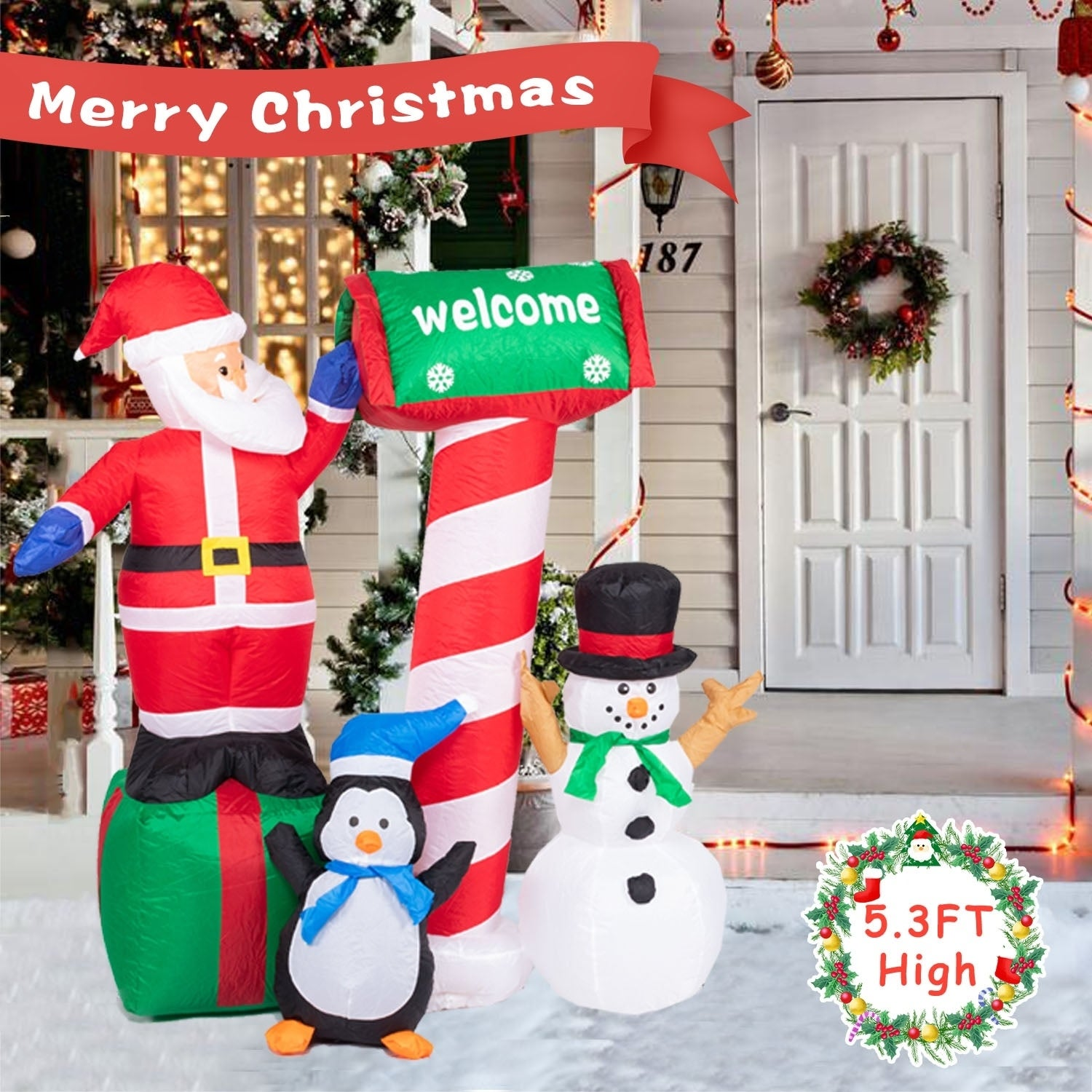 Kinbor 5 3Ft Inflatable Christmas Santa Snowman Indoor Outdoor Air Blown Lawn Party Decoration