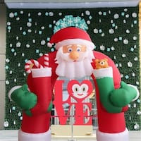 Kinbor 11Ft Christmas Inflatable Huge Santa Arch Archway Airblown Holiday Outdoor Decoration