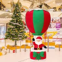 Kinbor 6 Ft Inflatable Santa Hot Air Balloon Airblown Yard Decoration
