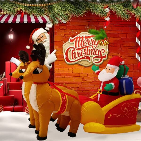 shop black friday deals on kinbor 51 inch inflatable christmas santa sleigh with reindeer overstock 25494318 with reindeer