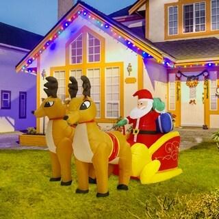 Kinbor 7Ft Inflatable Christmas Santa Reindeer with Gifts on Sleigh Yard X'mas Decoration