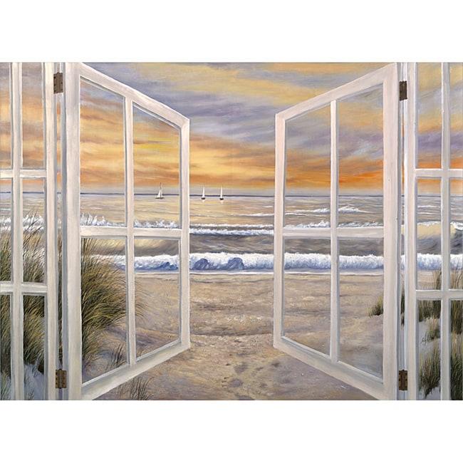 Ocean Window Scene Extra Large Canvas Art