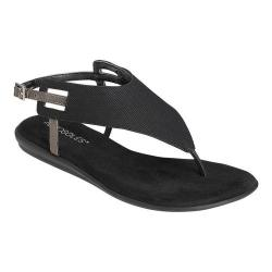 Women's Aerosoles Chlose Friend Thong Sandal Black Faux Leather