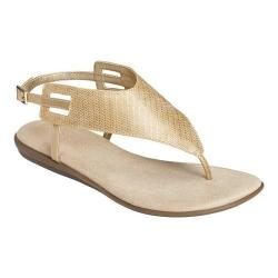 Women's Aerosoles Chlose Friend Thong Sandal Gold Faux Leather