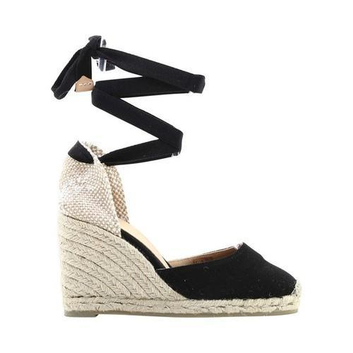 471eb9c70b1 Women's Castaner Carina Lace-Up Wedge Espadrille Black Cotton