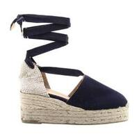 Women's Castaner Campesina Ribbon Espadrille Navy Blue Cotton