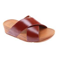 Women's FitFlop Lulu Crisscross Slide Cognac Leather
