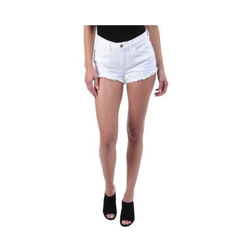 18ddd78a1172 Shop Women s L AGENCE Zoe Distressed Denim Short in Blanc Blanc - Free  Shipping Today - Overstock.com - 21727607