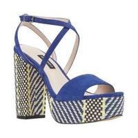 Women's Nine West Markando Block Heel Platform Sandal Dark Blue Suede