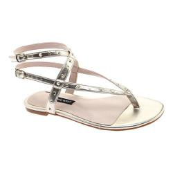 Women's Nine West Simcha Ankle Strap Thong Sandal Light Gold Synthetic