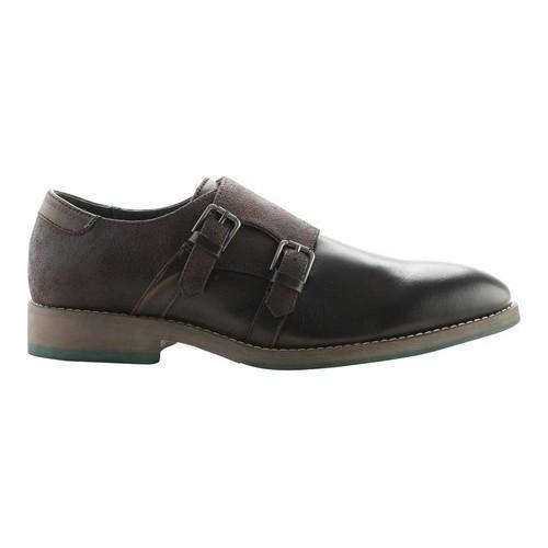 Men's ROBERT WAYNE Thane Double Monk Strap Oxford Brown Leather