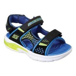 Boys' Skechers S Lights E-II Sandal Beach Glower Sport Sandal Black/Blue/Lime