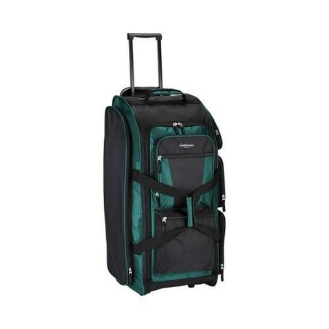 Travelers Club 30in Xpedition Rolling Upright Multi-Pocket Duffel Teal Green