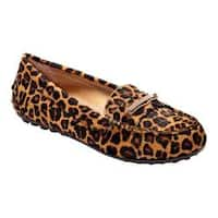 Women's Vionic with Orthaheel Technology Ashby Loafer Tan Leopard Haircalf