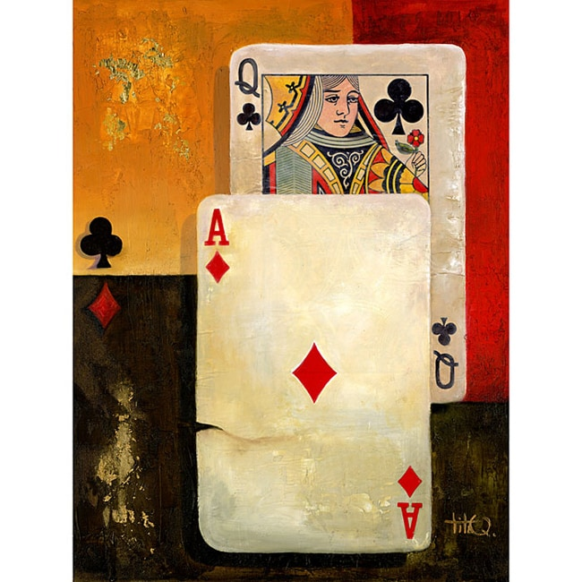 Poker Queen Extra Large Canvas Wall Art - 10764760 - Overstock com