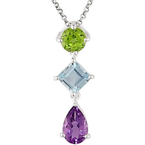Miadora Sterling Silver Amethyst Peridot and Blue Topaz Drop Journey Necklace