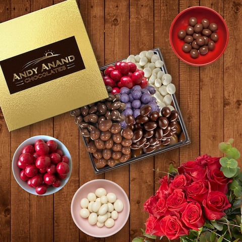 Andy Anand Dark Chocolates Basket-6 Different Varieties over 1 LBS -Cranberries,Coffee Beans & Ginger Coated