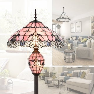 Tiffany Style 18 Inch Lampshade Floor Lamp Baroque Double Lit Lamp Home Decor Stained Glass Lighting
