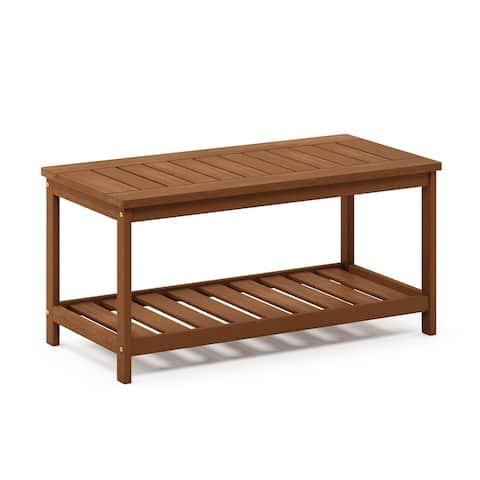 Furinno Tioman Hardwood Coffee Table with Shelf in Teak Oil
