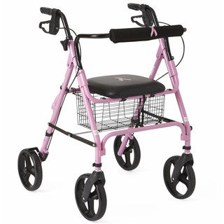 Medline Foldable Rollator for Breast Cancer Awareness