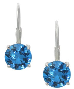 Icz Stonez Sterling Silver Blue CZ Leverback Earrings