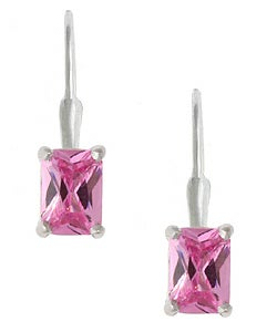 Icz Stonez Sterling Silver Pink CZ Leverback Earrings