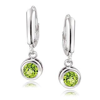 Glitzy Rocks Sterling Silver Peridot Leverback Earrings