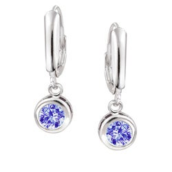 Icz Stonez Sterling Silver Blue Violet CZ Leverback Earrings