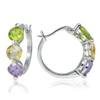 Glitzy Rocks Sterling Silver Multi-gemstone Hoop Earrings