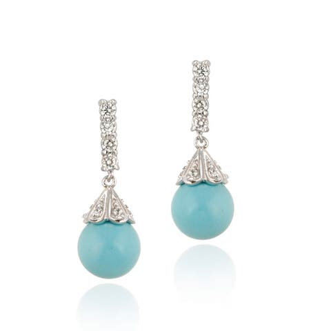 ICZ Stonez Silver CZ Synthetic Turquoise Drop Earrings