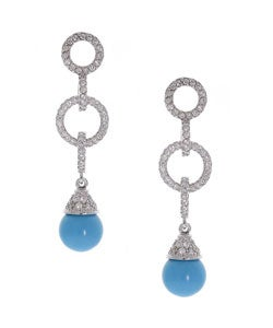 ICZ Stonez Sterling Silver Turquoise and CZ Hoop Earrings