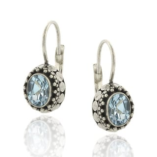 Glitzy Rocks Sterling Silver 2ct TGW Oval Blue Topaz Leverback Earrings