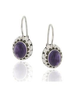 Glitzy Rocks Sterling Silver Oval Amethyst Leverback Earrings
